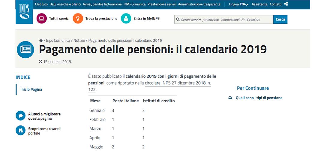 Calendario Pagamento Pensioni Inps.Pensioni 2019 Il Calendario Inps Con Le Date Degli